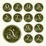 Vintage set capital letters , floral Monograms Stock Image