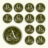 Vintage set capital letters , floral Monograms Stock Photography