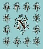 Vintage set capital letters, floral Monograms and filigree font. Royalty Free Stock Photography
