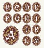 Vintage set capital letters , floral Monograms Stock Photography