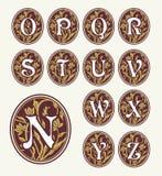 Vintage set capital letters , floral Monograms Stock Photos