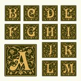 Vintage set capital letters,  Monograms and  font Royalty Free Stock Image