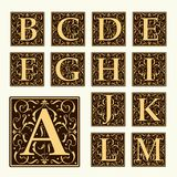 Vintage set capital letters,  Monograms and  font Stock Photo