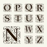 Vintage set capital letters,  Monograms and font Stock Images