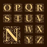 Vintage set capital letters,  Monograms and  font Royalty Free Stock Photo