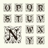 Vintage set capital letters,  Monograms and  font Royalty Free Stock Images
