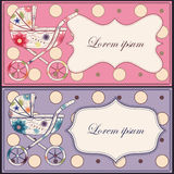 Vintage set of cards with baby carriages Royalty Free Stock Photo