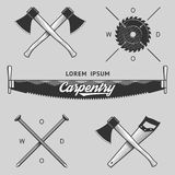 Vintage set of carpentry logos, labels and design elements. Stock . Royalty Free Stock Images