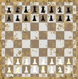 Vintage Set of Chess figures with wooden square ch Royalty Free Stock Photo