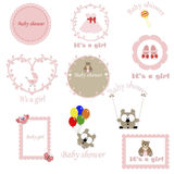 Vintage set of children's frames for the girl Royalty Free Stock Photos