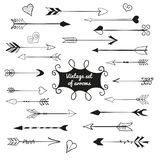 Vintage set of cute arrows and hearts. royalty free illustration