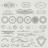 Vintage set decor elements. Elegance old hand drawing set. Outli. Ne ornate swirl leaves, acanthus, label, decor elements in vector. Big collection  borders for Stock Photo