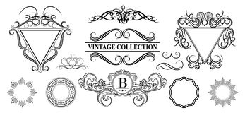 Vintage set decor elements for menu. Elegance old hand drawing s. Et. Outline ornate swirl leaves, label, acanthus elements, shield and decor elements in raster Royalty Free Stock Images