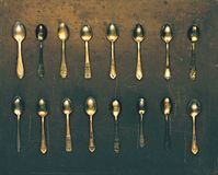 Vintage set of dessert spoons Stock Photos