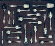 Vintage set of dessert spoons Stock Image
