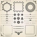 Vintage Set of Elements. Vintage set of classic elements. Different elements for decoration and design frames, cards, menus, backgrounds and monograms Stock Image