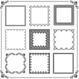Vintage Set of Square Elements. Vintage set of elements. Different square elements for decoration and design frames, cards, menus, backgrounds and monograms Stock Images