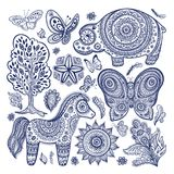 Vintage set of ethnic animals. For you business vector illustration