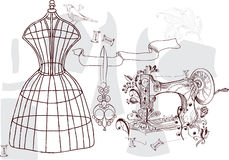 Vintage set - fashion and sewing. Illustration Stock Image