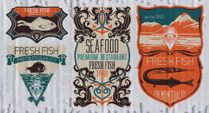 Vintage set of fish - vector. Logo, badge or label design template Royalty Free Stock Images
