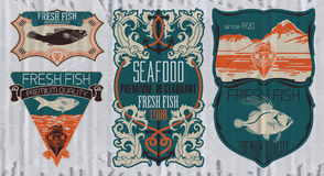 Vintage set of fish - vector Stock Photo
