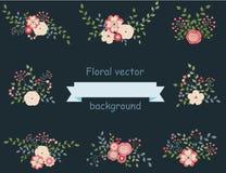 Vintage set of floral design elements Royalty Free Stock Image
