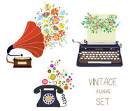 Vintage set - gramophone, typewriter and phone - floral nice des Royalty Free Stock Image