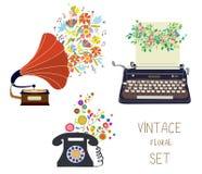 Vintage set - gramophone, typewriter and phone - floral nice des Royalty Free Stock Image