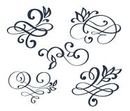 Vintage set hand drawn flourish separator Calligraphy elements symbol linked, join, passion and wedding. Template for t. Shirt, card, poster. Design flat Royalty Free Stock Photography