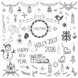 Vintage set of  hand drawn Merry Christmas design elements Stock Photography