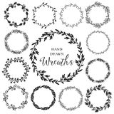 Vintage set of hand drawn rustic wreaths. Floral vector graphic.