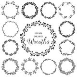 Vintage set of hand drawn rustic wreaths. Floral vector graphic. Nature design elements Royalty Free Stock Photo