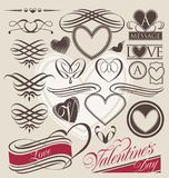 Vintage set of heart design elements Stock Image