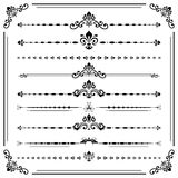 Vintage Set of Horizontal Elements. Vintage set of decorative black elements. Horizontal separators in the frame. Collection of different ornaments Stock Photo