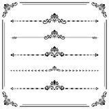 Vintage Set of Horizontal Elements. Vintage set of decorative elements. Horizontal separators in the frame. Collection of different black ornaments Stock Images