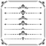Vintage Set of Horizontal Elements. Vintage set of decorative elements. Horizontal separators in the frame. Collection of different ornaments. Black and white Stock Photos