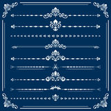 Vintage Set of Horizontal Elements. Vintage set of horizontal white decorative elements. Horizontal separators in the frame. Collection of different ornaments Royalty Free Stock Photo