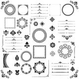 Vintage Set of Horizontal, Square and Round Elements. Different elements for decoration design, frames, cards, menus, backgrounds and monograms. Classic black Stock Photo