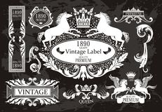 Vintage set with horses Royalty Free Stock Photography