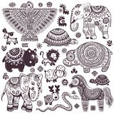 Vintage set of isolated ethnic animals and symbols Stock Photo
