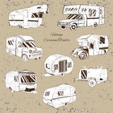 Vintage Set isolated Hand Drawn, doodle Camper trailer, car Recreation transport, Vehicles Camper Vans Caravans Icons Royalty Free Stock Photos