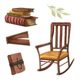 Vintage set isolated on white. Hand Drawn watercolor books, letter, rocking chair. Old objects. Reader