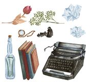 Vintage set isolated on white. Hand Drawn watercolor tipewriter, letter, necklace, books. Antique objects. Writer