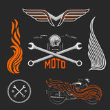 Vintage set of motorcycle logos, labels and design elements. Stock vector. royalty free illustration