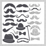 Vintage set with mustaches, hats and pipes Royalty Free Stock Image