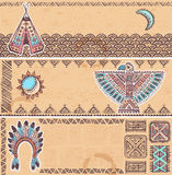 Vintage set of native American banners Stock Photo