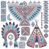 Vintage set of native American  symbols Stock Image