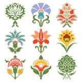 Vintage set oriental flowers pattern Stock Photos