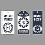Vintage set of ornamental tags. Eastern decor with monograms. Template labels for cards. Royalty Free Stock Image