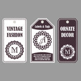 Vintage set of ornamental tags. Eastern decor with monograms. Template labels for cards. Royalty Free Stock Photos